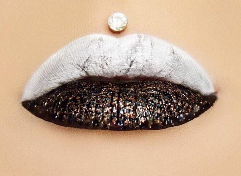 Мраморные губы – странный тренд в мире макияжа (20 фото)