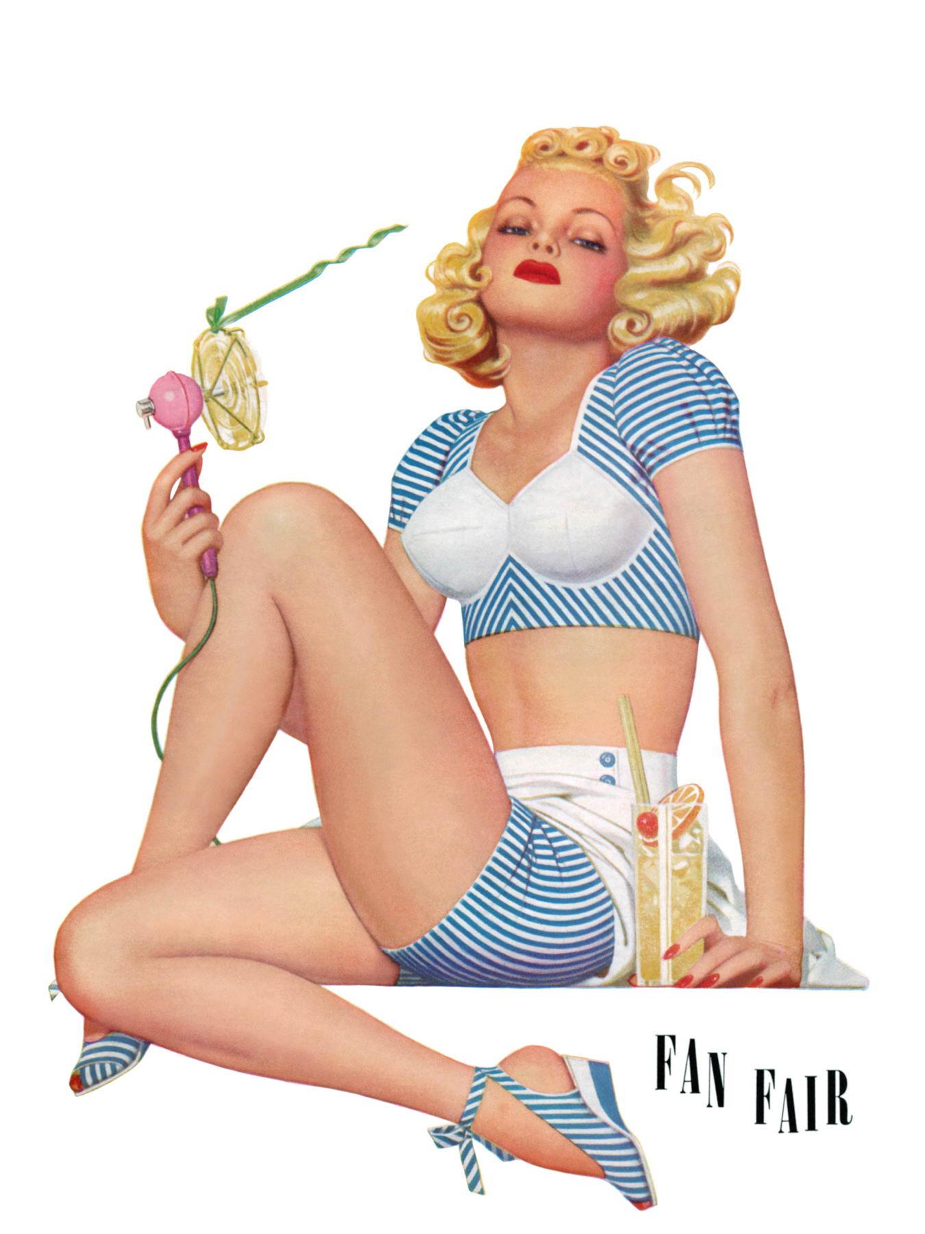 Рисованные Пин-ап девушки 40-50-х годов (85 фото)