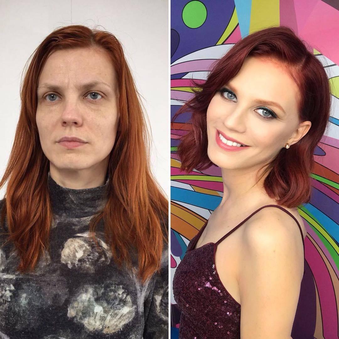 Девушки До и после макияжа (26 фото)