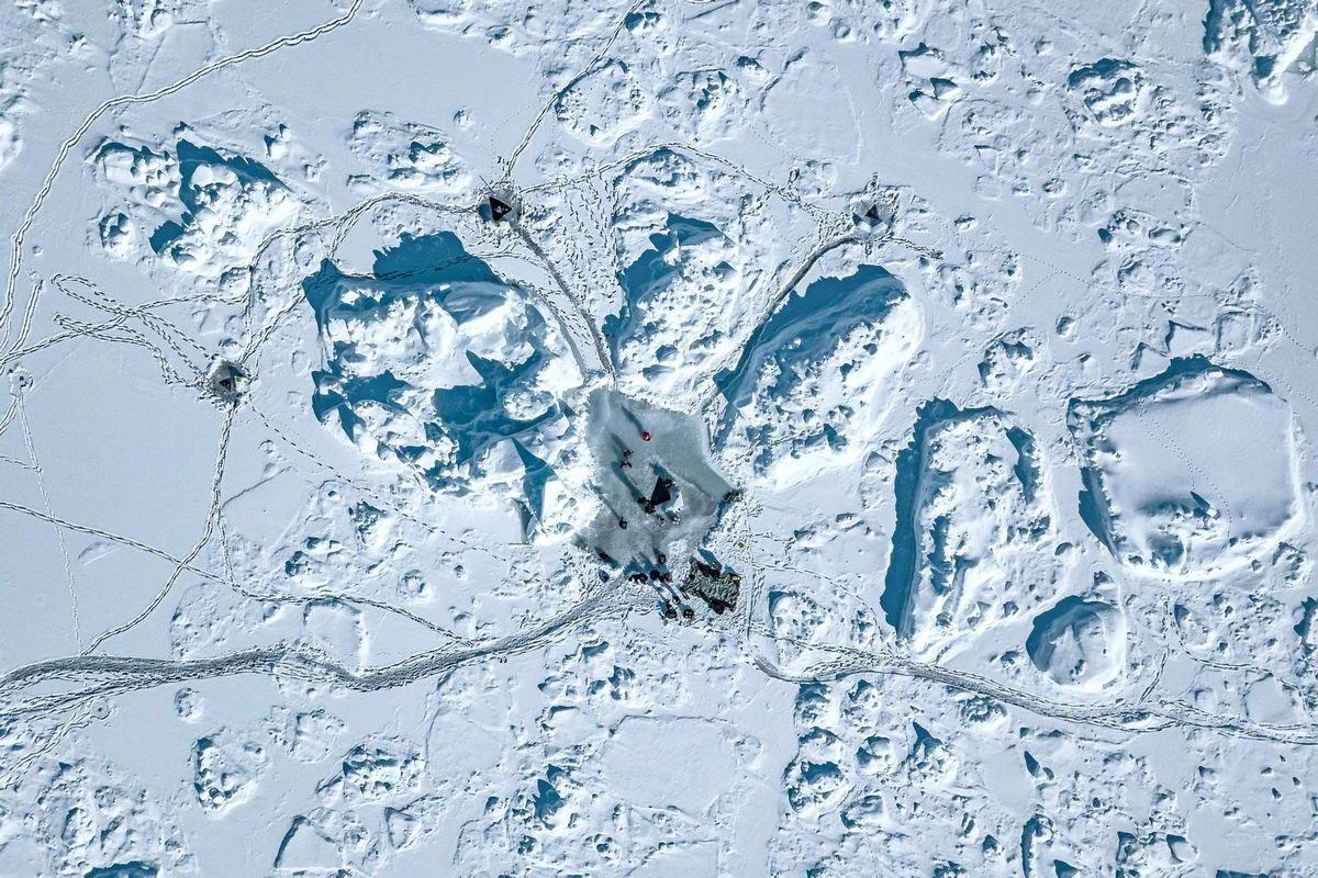 Дайверы не испугались 27-градусного мороза и поплавали под глыбами льда в Гренландии