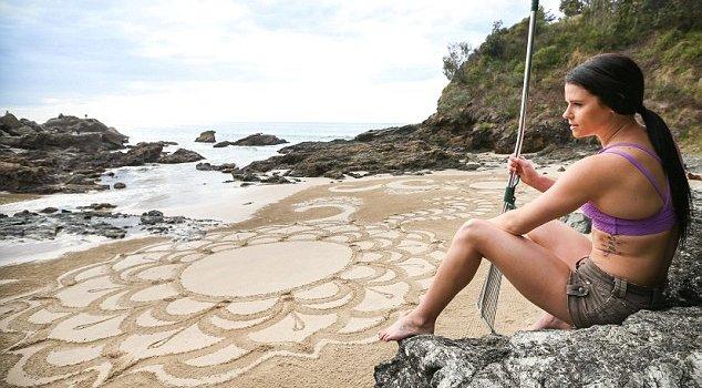 Пляжные узоры граблями (15 фото)