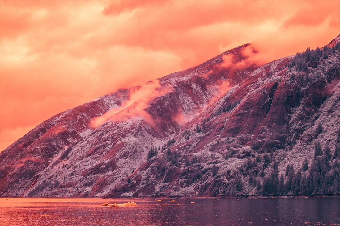 Фьорд Трейси Арм на Аляске в инфракрасном свете (20 фото)